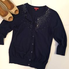 """⭐️FLASH SALE⭐ Navy Embellished Cardigan Beautiful navy cardigan with clear sequin embellishments. Minor wear and pilling.  3/4 length sleeves. 100% cotton. About 22 1/2"""" long and about 16 1/2"""" wide. NO TRADES. Merona Sweaters Cardigans"""