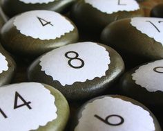 Table Numbers  Rocks  Unique and EcoFriendly by thepaperynook, $3.50