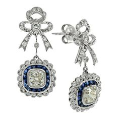 EGL Certified Cushion Cut Diamond Blue Sapphire White Gold Drop Earrings For Sale