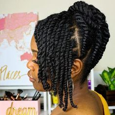 Twists doesnt always have to be unraveled! Pretty protective hairstyle w Twists doesnt always have to be unraveled! Pretty protective hairstyle w Flat Twist Hairstyles, Natural Braided Hairstyles, Protective Hairstyles For Natural Hair, Natural Hair Braids, Long Natural Hair, Pelo Natural, Natural Twists, Black Hairstyles, Wedding Hairstyles