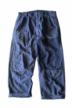 French vintage patched work pants/France 1960's/faded blue cotton/repaired/hand stitch/patchwork/medium/309