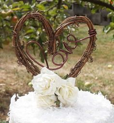 Vine Love Cake Topper With Flowers