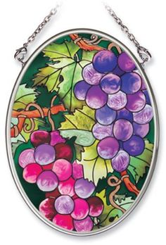 """3.25"""" x 4.25"""" Oval Fruit of the Vine Stained Glass Suncatcher by Amia by Amia. $12.95"""