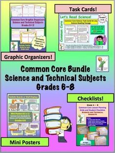 Common Core Bundle for Science and Technical Subjects in Grades Includes lesson planning grids, student checklists, graphic organizers, science informational text task cards, and posters for bulletin board. Science Student, Middle School Science, Science Classroom, Teaching Science, Science Education, Teaching Tips, Science Fun, Science Ideas, Earth Science