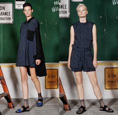 Ji Oh 2016 Spring Summer Womens Lookbook Presentation - New York Fashion Week - Denim Jeans Oversized Boxy Outerwear Coat Jacket Socks With Sandals Blouse Cargo Pockets Wrap Ribbon Skirt Frock Sleeveless Crop Top Midriff Wide Leg Trousers Palazzo Pants Culottes Onesie Jumpsuit Boiler Suit Coveralls Stripes Shirtdress Popover Combishorts Romper Shorts