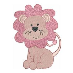 """This is a set of 5 cute pink jungle baby animals. Great for baby blankets etc. They are fill stitch designs sized for a 4""""x4"""" hoop. Many machine formats."""
