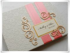 lace ivory coral and gold wedding guest book