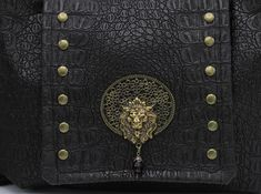 Steampunk Circus Lion Tamer Alligator Faux Leather Messenger Shoulder Bag with Courage and Strength Screen Print -- Fearless Crusader Steampunk Circus, Lion Tamer, Purple Glass, Steampunk Fashion, Leather Bags, Damask, Antique Brass, Hand Sewing, Screen Printing