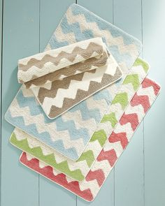 Chevron Bath Rugs [Now see, I want the green chevron curtain and rug. I am quite indecisive, no?]