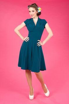 Miss Candyfloss - 50s Odette petrol swing dress