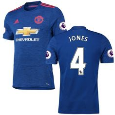 Phil Jones Manchester United adidas 2016/17 Authentic Away EPL Badge Jersey - Royal