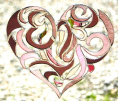Stained Glass Heart Valentine Heart Intricate Tribal Motif - Custom Made-to-Order Wedding Gift Anniversary Gift Bride and Groom. $80.00, via Etsy.