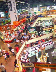 St. Lawrence Market, Toronto. Go in the morning and have a peameal bacon sandwich at the Carousel Bakery. Stock up on fruits, cheeses, dried sausages, and pastries for a picnic on the Toronto Islands. Also be sure to visit Kozlik's mustard stall.
