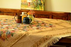 Colorful Country Rustic Floral Morning Awakening Tablecloth