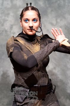 Chani cosplay from Dune.  That is dedication to your costume...cannot be comfortable.