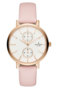 Kate Spade monterey multifunction leather strap watch, 38mm. Two subdials, one for seconds and one for the hours of the day, balance a classic round watch set apart by thin faceted indexes and a polished shine. Pink, white, rose gold. Accessories, jewelry, outfits, fashion, style, cute, new, Nordstrom.