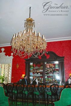 Another view of the Lobby Bar chandelier ~j   The Greenbrier ...