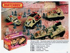 """The Year is 2000 – The planets prepare for battle."" #Vintage #Matchbox Adventure 2000 toy vehicles. #Nostalgia"