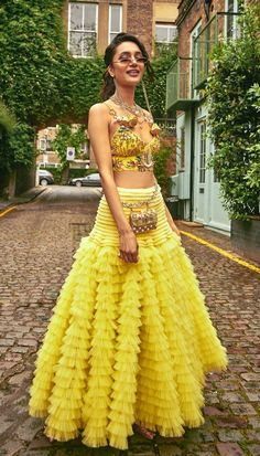 5 New Lehenga Fashion Trends You Need To Know About - Love this yellow gold bralette lehenga by Papa Don't Preach by Shubhika. Indian Bridal Fashion, Indian Wedding Outfits, Bridal Outfits, Indian Outfits, Bridal Dresses, Indian Fashion Trends, Indian Clothes, Salwar Designs, Lehenga Designs