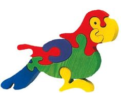 Parrot - Waldorf wooden puzzle, made by hand of maple wood,no harmful colors and no lacquer