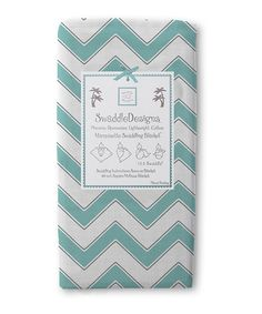 Look at this #zulilyfind! Turquoise & Gray Zigzag Marquisette Swaddling Blanket by SwaddleDesigns #zulilyfinds