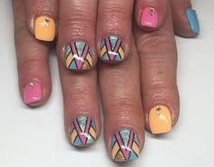 Short Aztec Square Nails | Pretty Long & Short Square Nails Inspiration