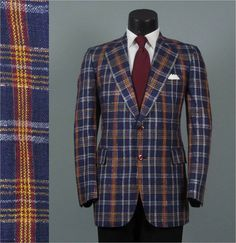Vintage 1970s Mens Fashions  Sparkly Plaid Jacket by jauntyrooster, $85.00