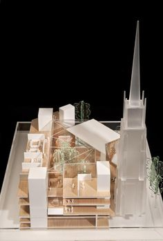 This project for Christian charity Oasis is a mixed-use building containing residential accommodation alongside the charity's parliament, conference facilities for 1000 delegates, public spaces, a library, and office accommodation. Christian Charities, Conference Facilities, Architecture Models, Oasis, Architects, Centre, Table Decorations, Building, Projects
