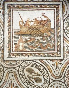 Tunisia, Thuburbo Majus, Mosaic work depicting a fishing scene 3rd Century A.D., Tunisia, Tunis, Musee National Du Bardo (Archaeological Museum), Roman art