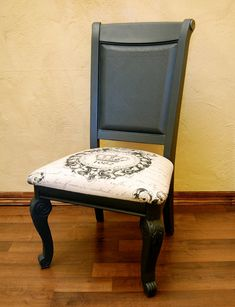 Chair painted with Annie Sloan's Chalk Paint in Graphite. Gorgeous! love the fabric!