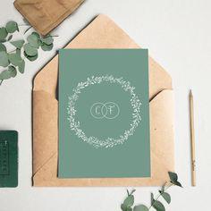 Faire-part mariage champetre & végétal, très tendance. Faire-part couleur vert ardoise et blanc. Rustic wedding invitation. Mariage champêtre chic.