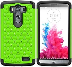 myLife Slime Green + Slate Black {Rhinestone Bumper Design} 2 Piece Hybrid Reflex Case for the LG G3 Smartphone (Outer Rubberized Fit On Protector Shell + Internal Silicone SECURE-Grip Bumper Gel) myLife Brand Products http://www.amazon.com/dp/B00NTBXVJO/ref=cm_sw_r_pi_dp_yTNtub1755MQT