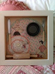 Shadow box love (make with Moms kitchen tools, apron and recipes)