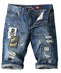 Myncoo Men's Distressed Twill Denim Shorts