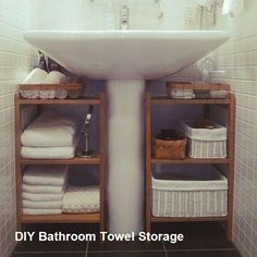 38 space-saving bathroom storage ideas to keep your bathroom organized, Diy Bathroom Decor, Bathroom Storage, Kitchen Storage, Diy Room Decor, Bathroom Ideas, Bathroom Vanities, Bathroom Cabinets, Master Bathroom, Organize Bathroom Countertop