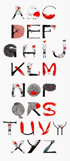 Illustrated alphabet by Alexandra Huard. Really like the colours and the style o. - Illustrated alphabet by Alexandra Huard. Really like the colours and the style of this lettering work. Alphabet Design, Alphabet Art, Animal Alphabet, Typographie Fonts, Inspiration Typographie, Schrift Design, Graphisches Design, Nails Design, Design Ideas