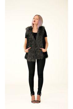 Two-Colored Fake Fur Vest, S / Annaliina Fake Fur, Peplum, Vest, Collection, Color, Tops, Women, Fashion, Moda