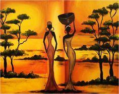Black Women Art, Black Art, African Tattoo, African Art Paintings, Art Africain, Africa Art, Tropical Art, Spring Art, African American Art