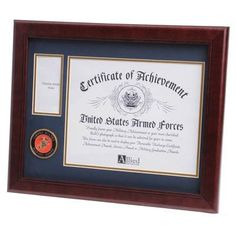 Navy Medallion Certificate and Medal Frame is designed to hold a single by document, certificate, award, diploma or picture. There is a by opening to display a medal received during or after active service. Picture Frame Sets, Wood Picture Frames, Picture On Wood, Frames On Wall, Flag Display Case, Display Cases, Flag Store, Certificate Frames, Mahogany Color