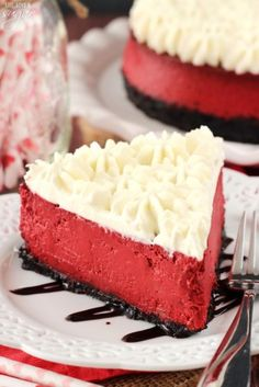 Red Velvet Cheesecake - So incredibly smooth and creamy! Has the flavor and tang of red velvet cake, but in cheesecake form!