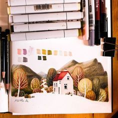 Marker and colored pencils  * #sketchbook #sketch #sketching #marker #copicmarker #copic #art #illustration #drawing #ireland #kerry #landscape #autumn #fall
