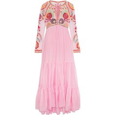 Temperley London Chimera embroidered tulle and silk-blend maxi dress (4,725 MYR) ❤ liked on Polyvore featuring dresses, pink, embroidery maxi dress, embroidered dress, embroidered tulle dress, maxi dresses and embroidery dress