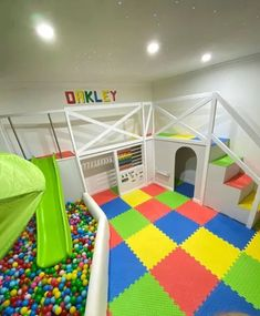 Dad transforms his dated living room into an incredible soft playroom for his son complete with a ball pit and slide Playroom Slide, Indoor Playroom, Playroom Table, Small Playroom, Toddler Playroom, Playroom Furniture, Playroom Design, Playroom Decor, Kids Room Design