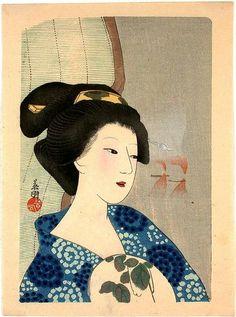 Hirezaki Eiho: Bijin with Fan - Japanese Art Open Database Japanese Art Prints, Japanese Artwork, Japanese Painting, Art Occidental, Traditional Japanese Art, Japan Art, Oeuvre D'art, Oeuvres, Print Artist