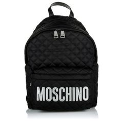 Moschino Tasche – Quilted Silver Logo Backpack Black – in…
