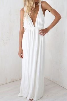Sexy Plunging Neck Sleeveless Open Back Solid Color Women's Maxi Dress