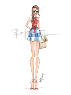 4th of July picnic | straw bag | sunflowers | red, white and blue | holiday weekend | independence day | fashion illustration | gingham | Brittany Fuson