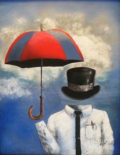 Umbrella, acrylic on panel, by Crispin Delgado