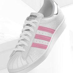 mi adidas Superstar white croco pink stripes metallic silver