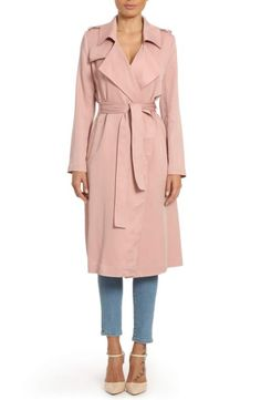 Faux Leather Trim Long Trench Coat BADGLEY MISCHKA off A softly structured lightweight trench offers a relaxed feel, while polished touches like epaulets, flaps and faux leather trim add timeless appeal. Grunge Look, Pink Trench Coat, Trench Coats, Parka Coat, Women's Coats, Apple Body Shapes, Wrap Coat, Raincoats For Women, Fashion Mode